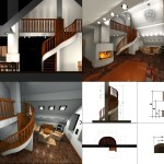 Гостиная. Лестниц и камин